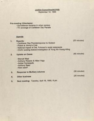 Justice Committee/NCPRR - Agenda