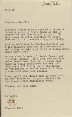 Correspondence from Eduardo Diaz