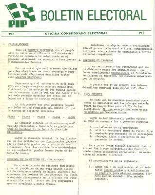 Partido Independentista Puertorriqueño Boletin Electoral