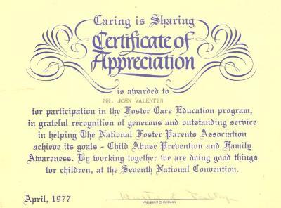 Certificate of Appreciation to John M. Valentin