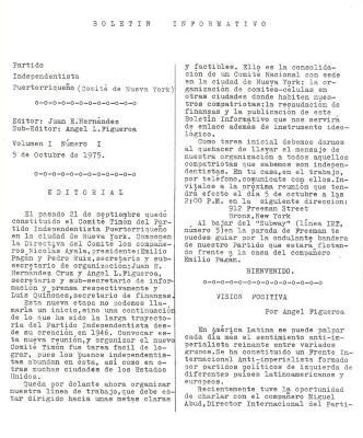 Partido Independentista Puertorriqueño Boletin Informativo