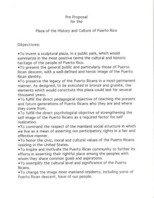 Pre-Proposal for the Plaza and History of Puerto Rico