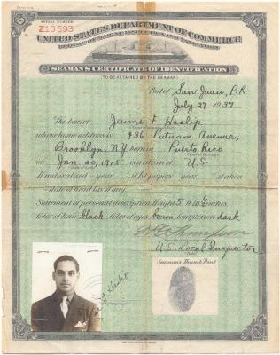 United States Department of Commerce identification, given to Seaman Jaime Haslip-Peña