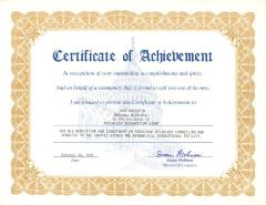 Congress Certificate of Achievement Awarded to John M. Valentin