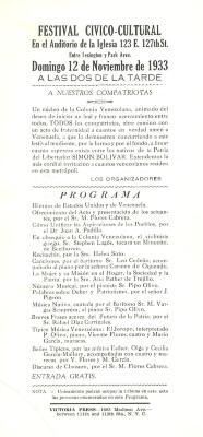 Program for the Cultural Civic Festival