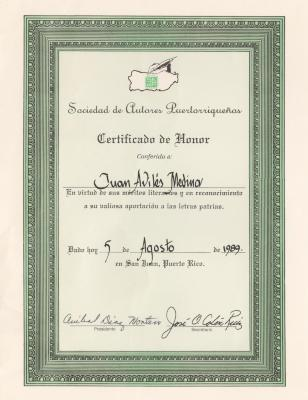 Certificate Awarded to poet Juan Avilés by Puerto Rican Authors' Society