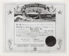 Steamship certificate for poet Juan Avilés from Munson Steamship Line