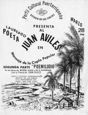 Flyer of performance by poet Juan Avilés