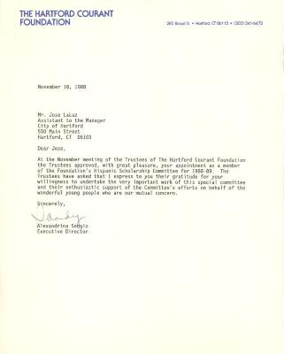 Correspondence to Jose La Luz from Alexandrina Sergino