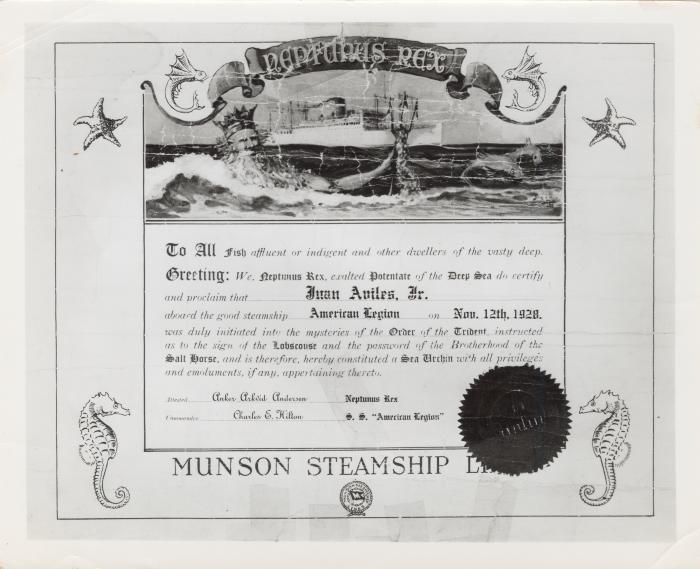 Steamship certificate for poet Juan Avilés from Munson Steamship Line