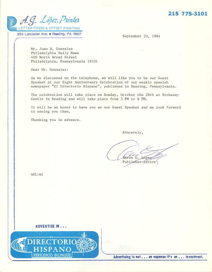 Correspondence to Juan Gonzalez from Aaron G. Lopez