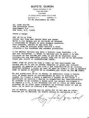 Correspondence to Juan Avilés from Jorge Fidel Duron