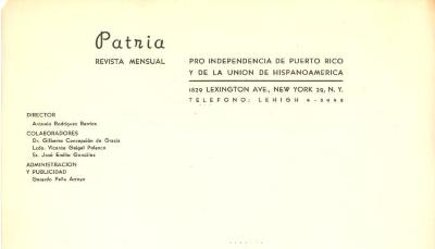 Promotional card for the Puerto Rican Independence Party