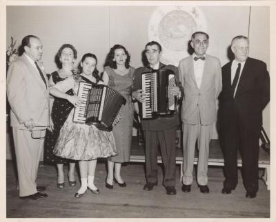 Poet Juan Avilés with accordionist Martha Bertiex