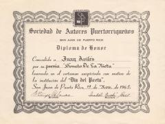 Certificate awarded to poet Juan Avilés by the Puerto Rican Authors' Society