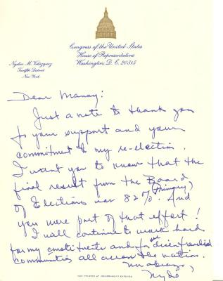 Correspondence to Manuel Diaz from Nydia Velasquez