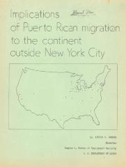 Implications of Puerto Rican Migration to the continent outside New York City