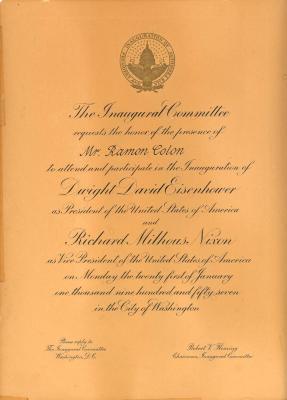 White House inaugural invitation to Ramón Colón