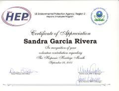 Certificate of Appreciation to Sandra García-Rivera