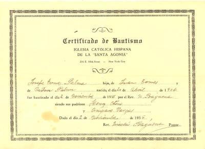 Certificate of Baptism of / Certificado de Bautismo de Josefa Torres Palma