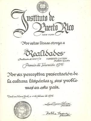 Instiuto de Puerto Rico certificate award to Realidades