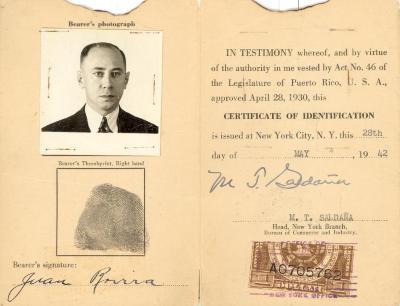 Certificate of Identification of Juan Rovira