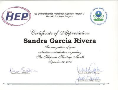 Certificate of Appreciation to Sandra García-Rivera