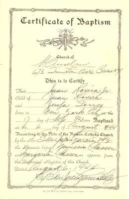 Juan Rovira Jr. - Certificate of Baptism