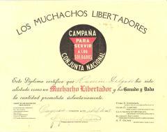 Los Muchachos Libertadores certificate to Ramón Delgado Ramos