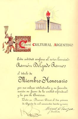 Certificate to Ramón Delgado Ramos from the Comité Cultural Argentino