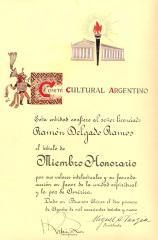Certificate to Ramón Delgado Ramos from the Comité Cultural Argentino