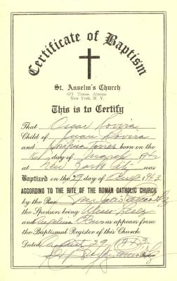 Oscar Rovira - Certificate of Baptism