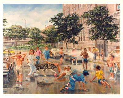 Summer in the City painting by Samuel García