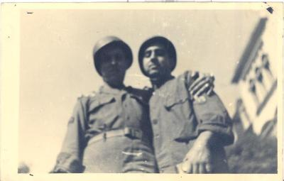 Victor M. Torres and friend during World War II period