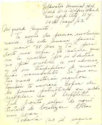 Correspondence from Julia de Burgos, page 1