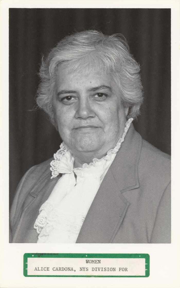 Alice Cardona, NYS Division for Women