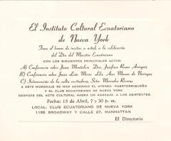Invitation from El Instituto Cultural Ecuatoriano de Nueva York