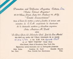 Invitation from Promotion and Diffusion Argentine Culture, Inc. (Centro Cultural Argentino)