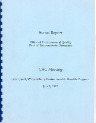 CAC Meeting - Greenpoint/Williamsburg Environmental Benefits - Status Report