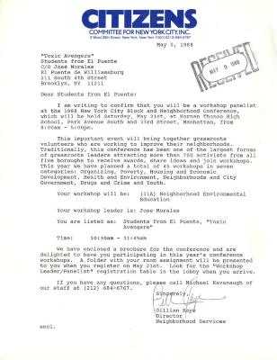 Correspondence to the Toxic Avengers from Citizens - Committee for New York City, Inc.