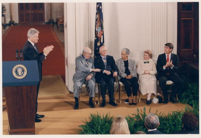 United States' President Bill Clinton with Presidential Medal of Freedom honorees