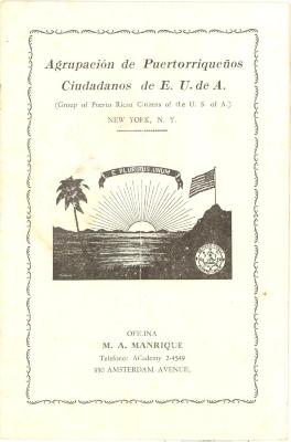 Pamphlet of the Group of Puerto Rican Citizens of the U.S of A. (Cover page)