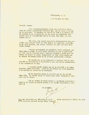 Correspondence to Erasmo Vando from Gilberto de Concepcion