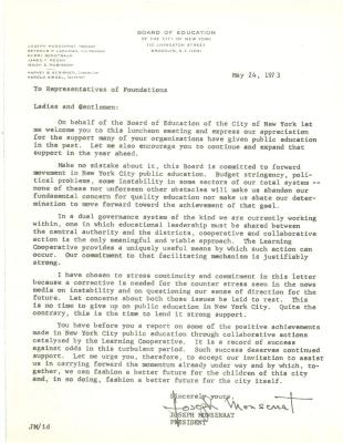 Correspondence from Joseph Monserrat of the New York City Board of Education