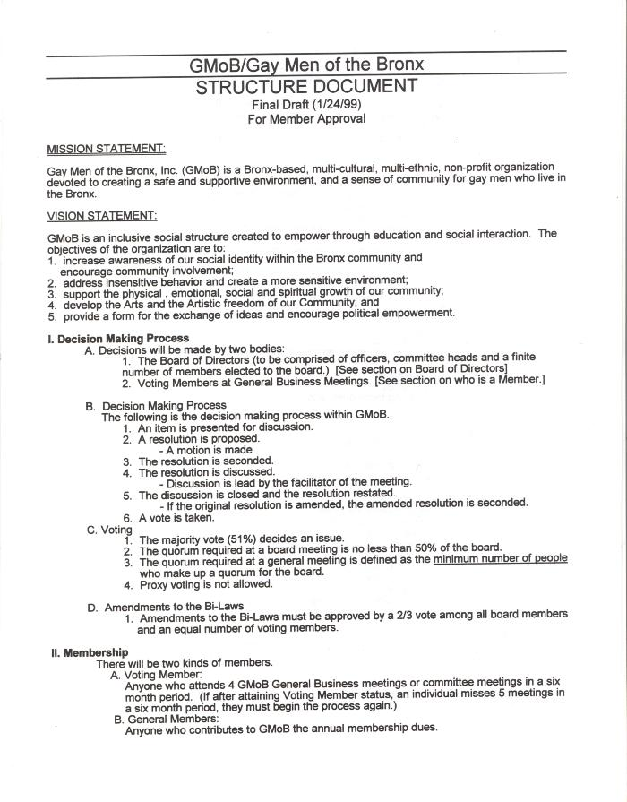 Gay Men of the Bronx - Structure Document