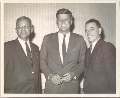 Felipe N. Torres, President John F. Kennedy and Assemblyman Jose Ramos Lopez during Kennedy's presidential campaign