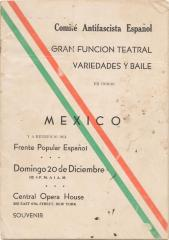 Comite Antifacista Español booklet cover announcing cultural event honoring Mexico