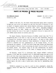 Press release from ASPIRA of New York, INC, 1985