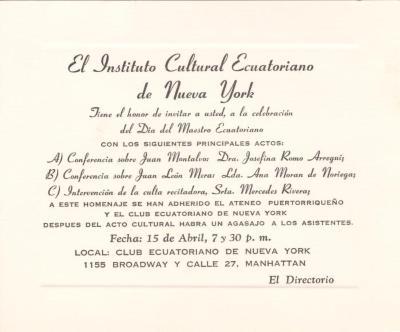 Invitation from El Instituto Cultural Ecuatoriano de Nueva York