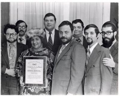 Evelina López Antonetty with her community service award